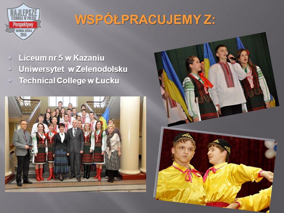  Liceum nr 5 w Kazaniu  Uniwersytet w Zelenodolsku  Technical College w Łucku WSPÓŁPRACUJEMY Z: