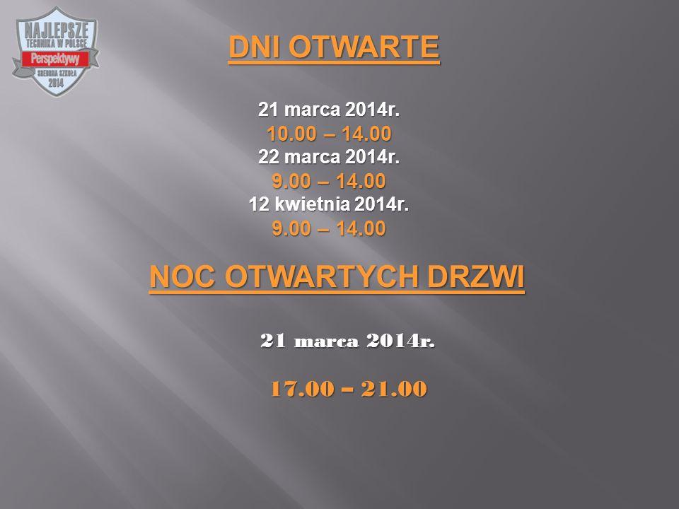 DNI OTWARTE 21 marca 2014r. 10.00 – 14.00 22 marca 2014r.