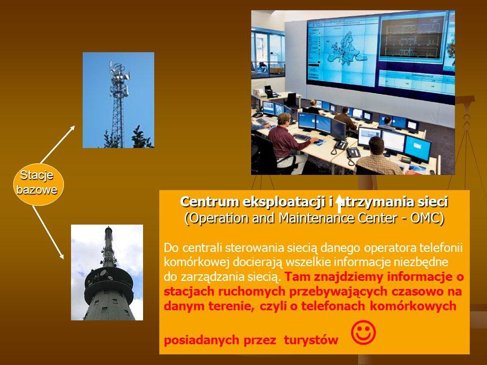 Centrum eksploatacji i utrzymania sieci (Operation and Maintenance Center - OMC) Do centrali sterowania siecią danego operatora telefonii komórkowej d