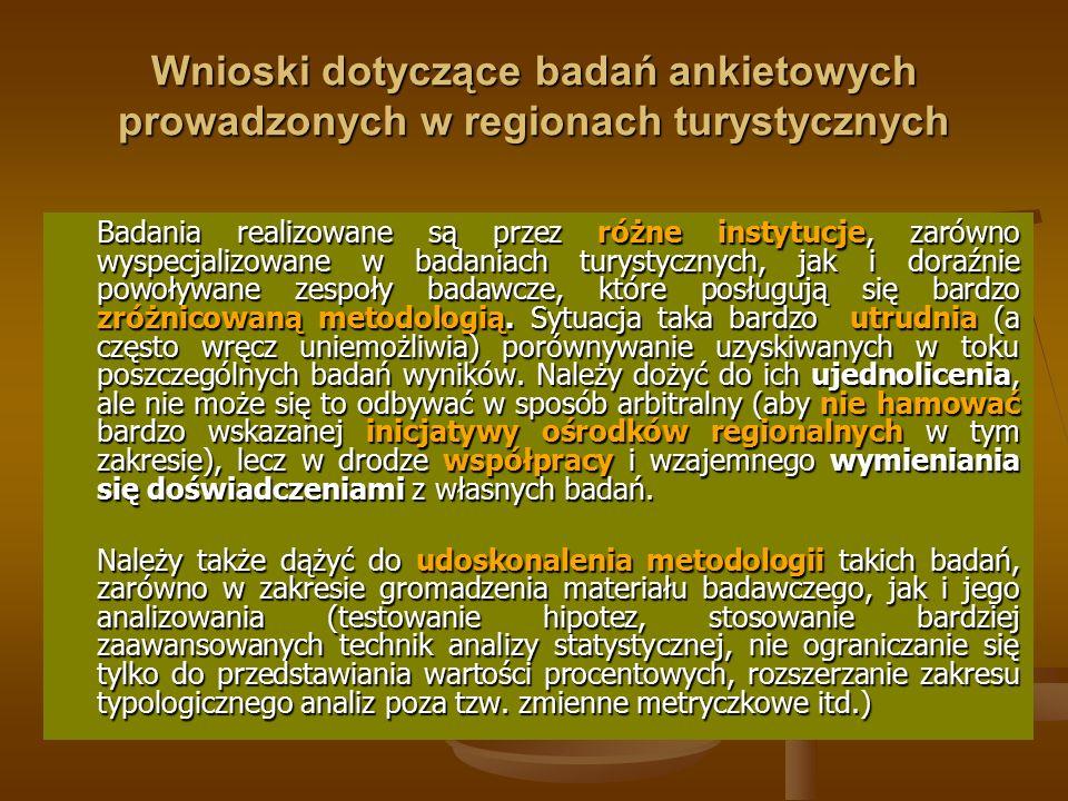 Wnioski dotyczące badań ankietowych prowadzonych w regionach turystycznych Badania realizowane są przez różne instytucje, zarówno wyspecjalizowane w b