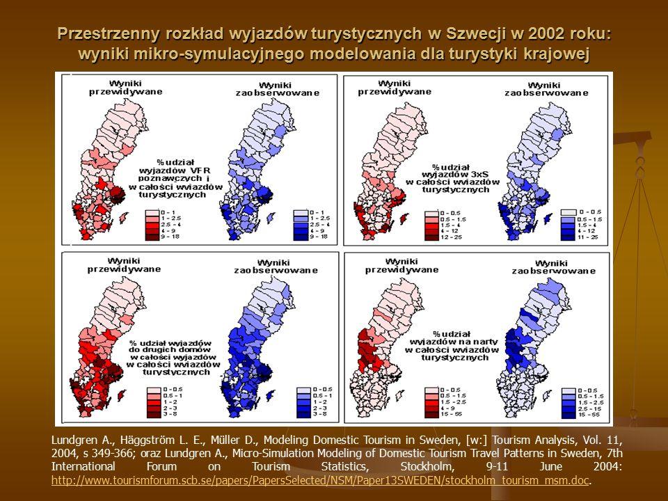 Przestrzenny rozkład wyjazdów turystycznych w Szwecji w 2002 roku: wyniki mikro-symulacyjnego modelowania dla turystyki krajowej Lundgren A., Häggströ