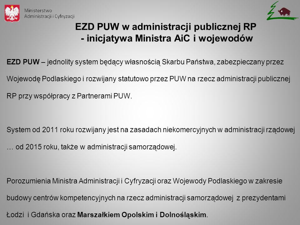 EZD PUW – jednolity system będący własnością Skarbu Państwa, zabezpieczany przez Wojewodę Podlaskiego i rozwijany statutowo przez PUW na rzecz adminis