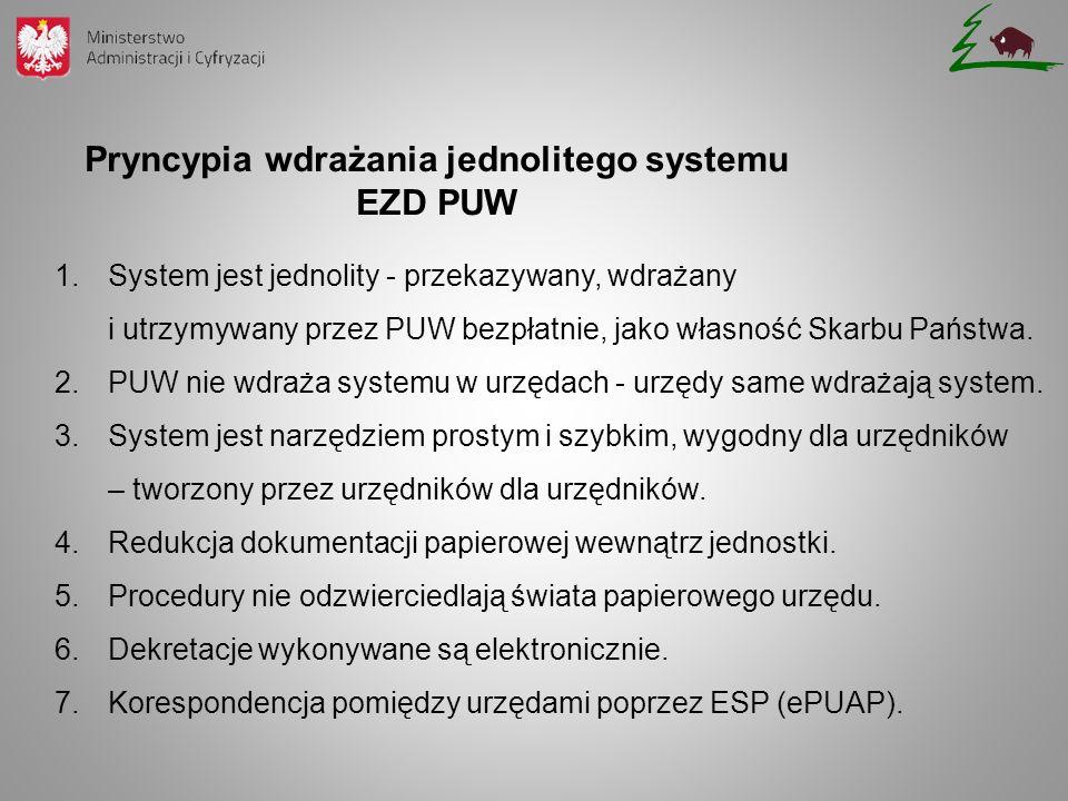 Pryncypia wdrażania jednolitego systemu EZD PUW 1.System jest jednolity - przekazywany, wdrażany i utrzymywany przez PUW bezpłatnie, jako własność Skarbu Państwa.