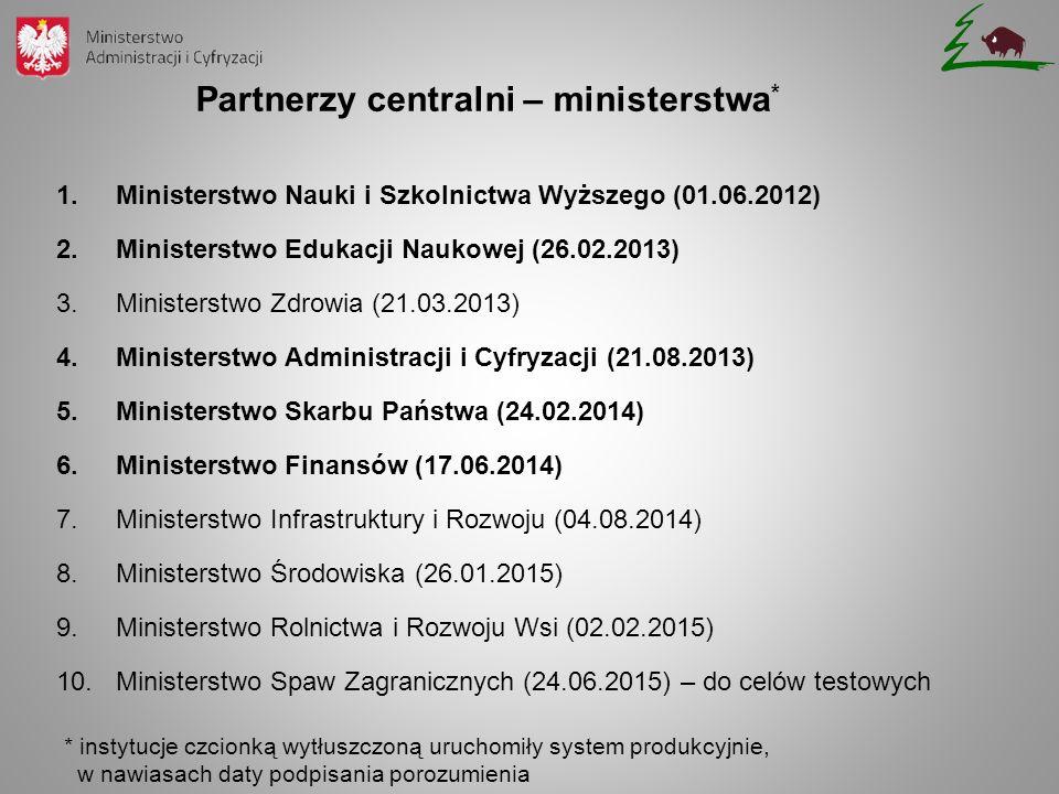 Partnerzy centralni – ministerstwa * 1.Ministerstwo Nauki i Szkolnictwa Wyższego (01.06.2012) 2.Ministerstwo Edukacji Naukowej (26.02.2013) 3.Minister