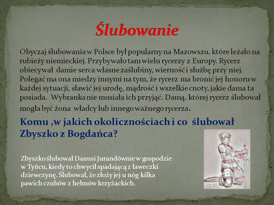 Obyczaj ślubowania w Polsce był popularny na Mazowszu, które leżało na rubieży niemieckiej. Przybywało tam wielu rycerzy z Europy. Rycerz obiecywał da