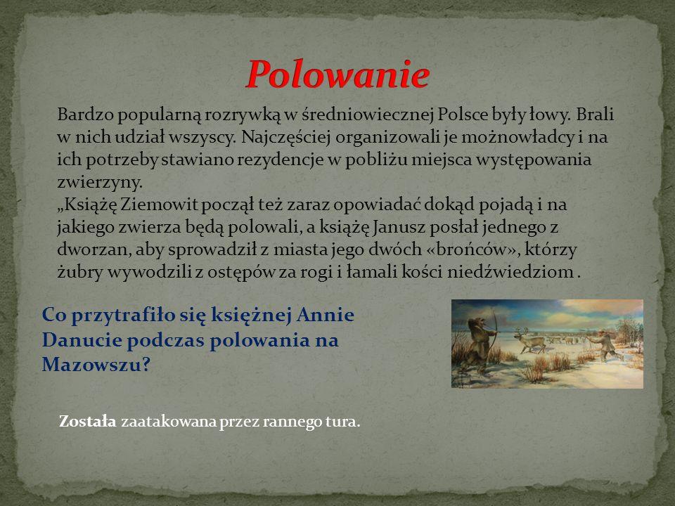 Bardzo popularną rozrywką w średniowiecznej Polsce były łowy. Brali w nich udział wszyscy. Najczęściej organizowali je możnowładcy i na ich potrzeby s