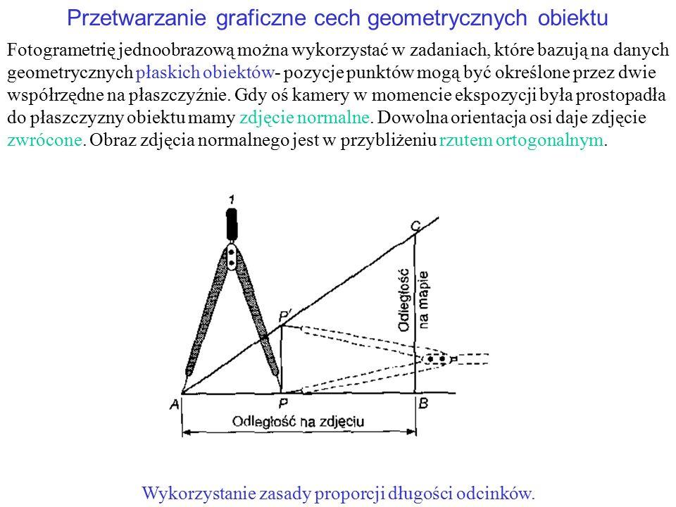 Przetwarzanie graficzne cech geometrycznych obiektu Fotogrametrię jednoobrazową można wykorzystać w zadaniach, które bazują na danych geometrycznych p