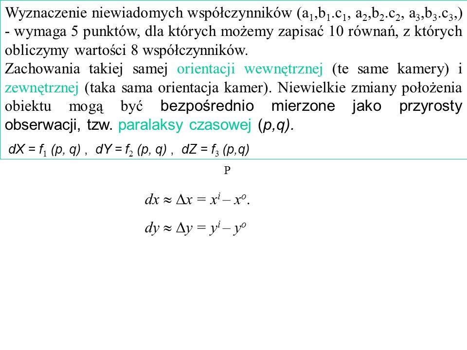 Wyznaczenie niewiadomych współczynników (a 1,b 1.c 1, a 2,b 2.c 2, a 3,b 3.c 3,) - wymaga 5 punktów, dla których możemy zapisać 10 równań, z których o