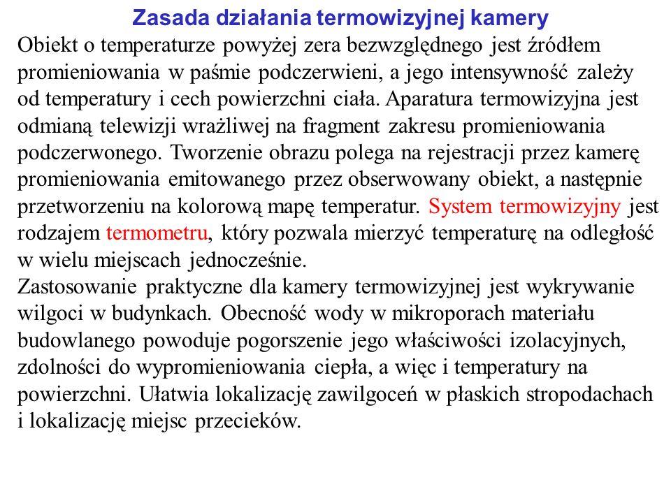 Zasada działania termowizyjnej kamery Obiekt o temperaturze powyżej zera bezwzględnego jest źródłem promieniowania w paśmie podczerwieni, a jego inten