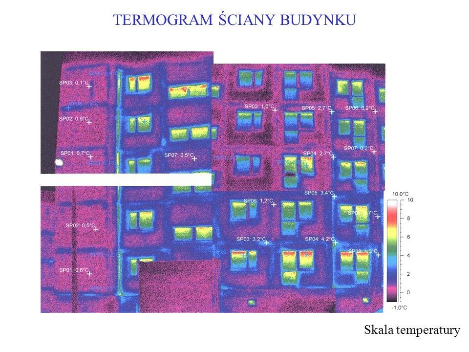 TERMOGRAM ŚCIANY BUDYNKU Skala temperatury