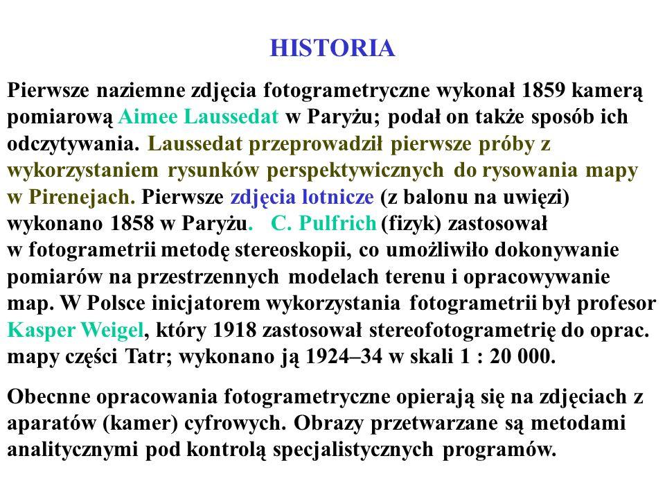 HISTORIA Pierwsze naziemne zdjęcia fotogrametryczne wykonał 1859 kamerą pomiarową Aimee Laussedat w Paryżu; podał on także sposób ich odczytywania. La