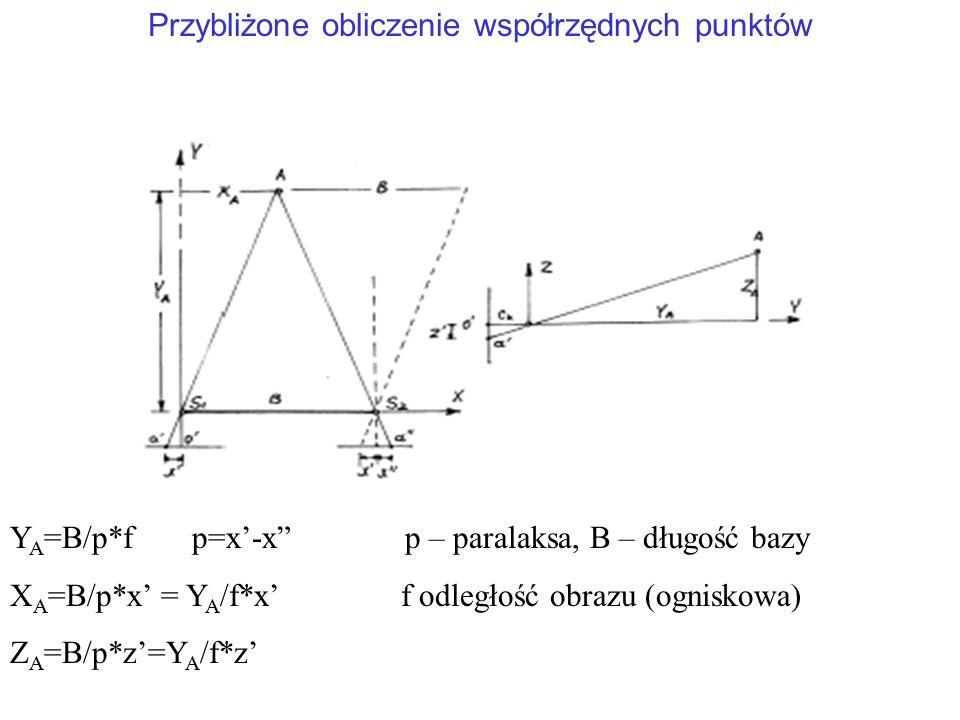 """Y A =B/p*f p=x'-x"""" p – paralaksa, B – długość bazy X A =B/p*x' = Y A /f*x' f odległość obrazu (ogniskowa) Z A =B/p*z'=Y A /f*z' Przybliżone obliczenie"""