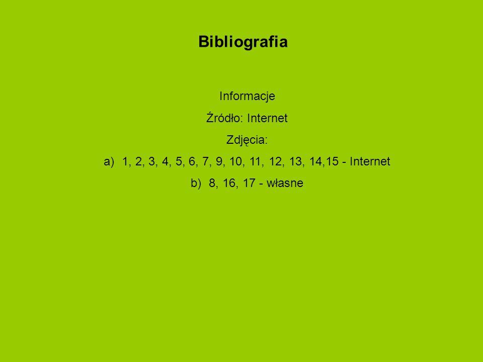 Bibliografia Informacje Źródło: Internet Zdjęcia: a)1, 2, 3, 4, 5, 6, 7, 9, 10, 11, 12, 13, 14,15 - Internet b)8, 16, 17 - własne
