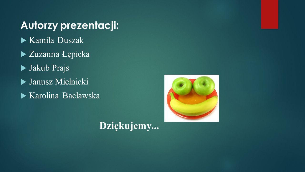 Autorzy prezentacji:  Kamila Duszak  Zuzanna Łępicka  Jakub Prajs  Janusz Mielnicki  Karolina Bacławska Dziękujemy...