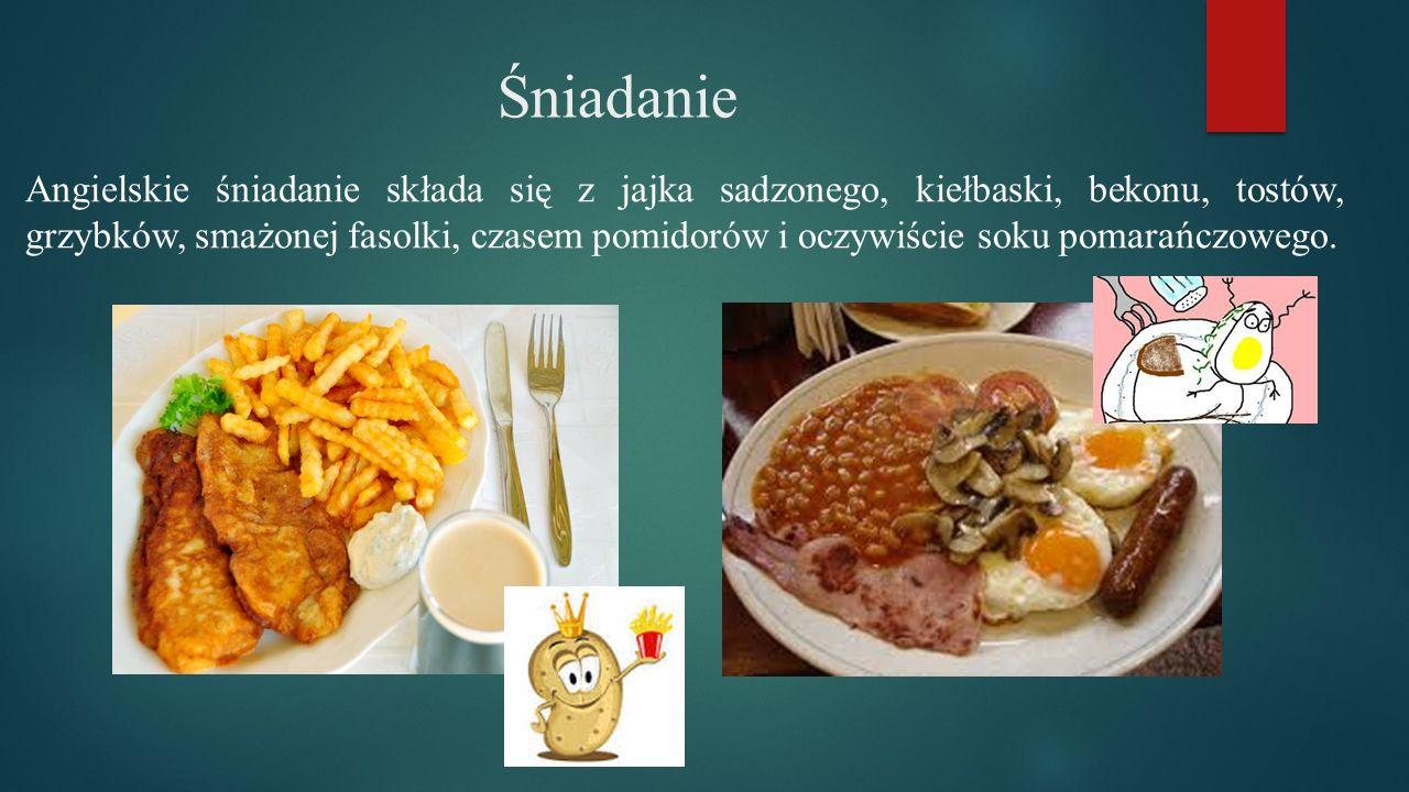 Śniadanie Angielskie śniadanie składa się z jajka sadzonego, kiełbaski, bekonu, tostów, grzybków, smażonej fasolki, czasem pomidorów i oczywiście soku pomarańczowego.