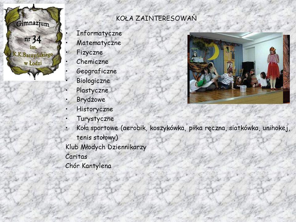 """KOŁA ZAINTERESOWAŃ Informatyczne Matematyczne Fizyczne Chemiczne Geograficzne Biologiczne INNOWACJE: Plastyczne zajęcia """"Bliżej Teatru"""" Brydżowe Histo"""