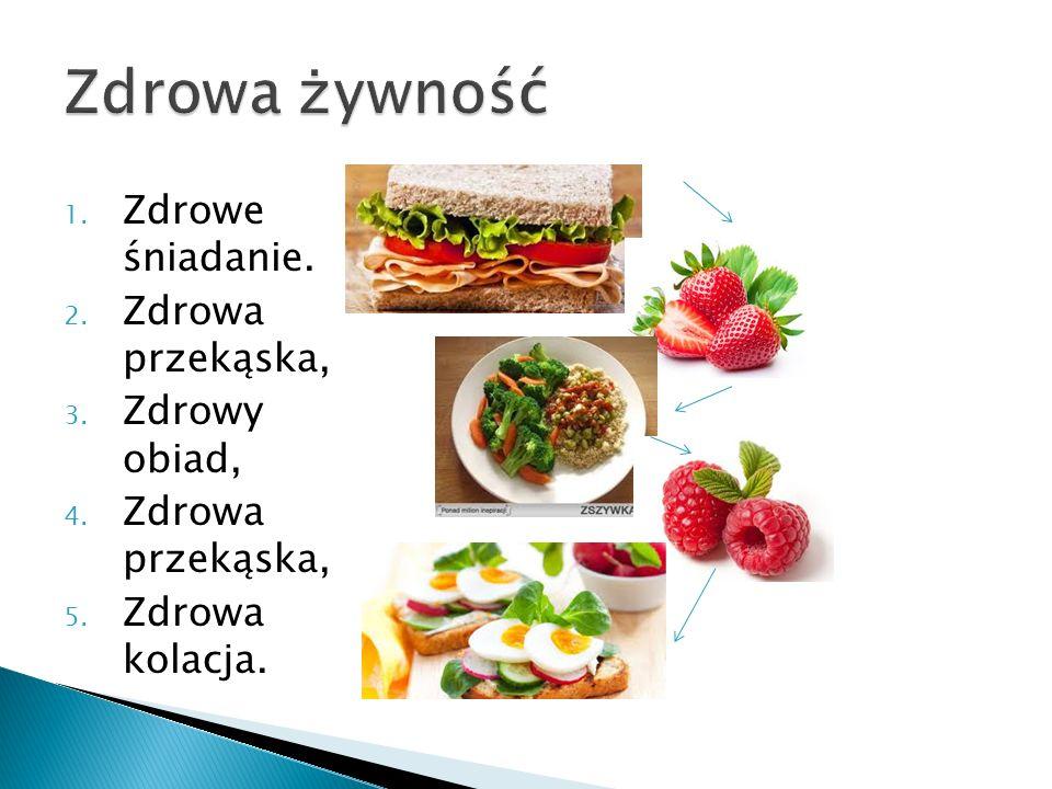1. Zdrowe śniadanie. 2. Zdrowa przekąska, 3. Zdrowy obiad, 4. Zdrowa przekąska, 5. Zdrowa kolacja.