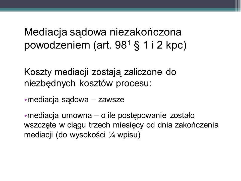 Mediacja sądowa niezakończona powodzeniem (art.