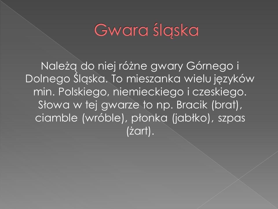 Należą do niej różne gwary Górnego i Dolnego Śląska. To mieszanka wielu języków min. Polskiego, niemieckiego i czeskiego. Słowa w tej gwarze to np. Br