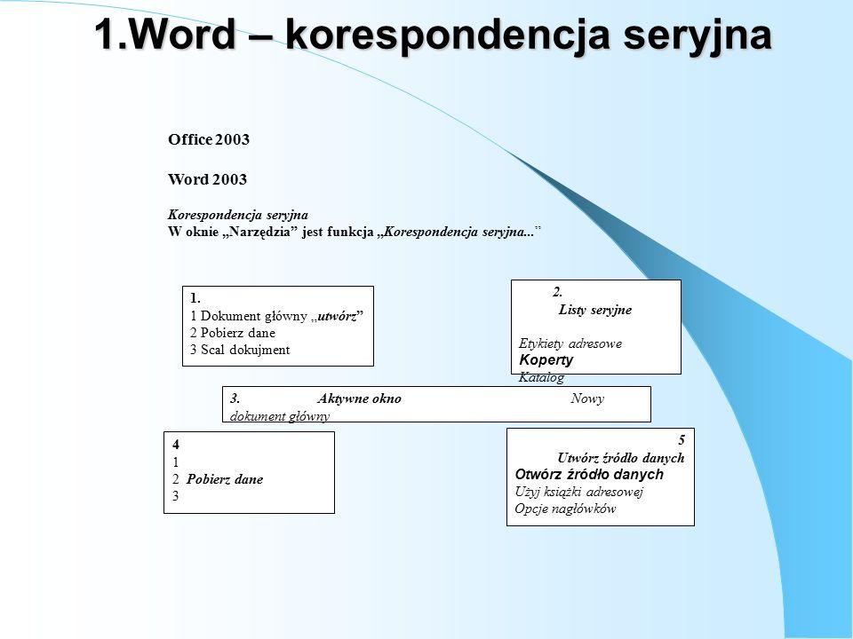 """1.Word – korespondencja seryjna Office 2003 Word 2003 Korespondencja seryjna W oknie """"Narzędzia jest funkcja """"Korespondencja seryjna... 1."""