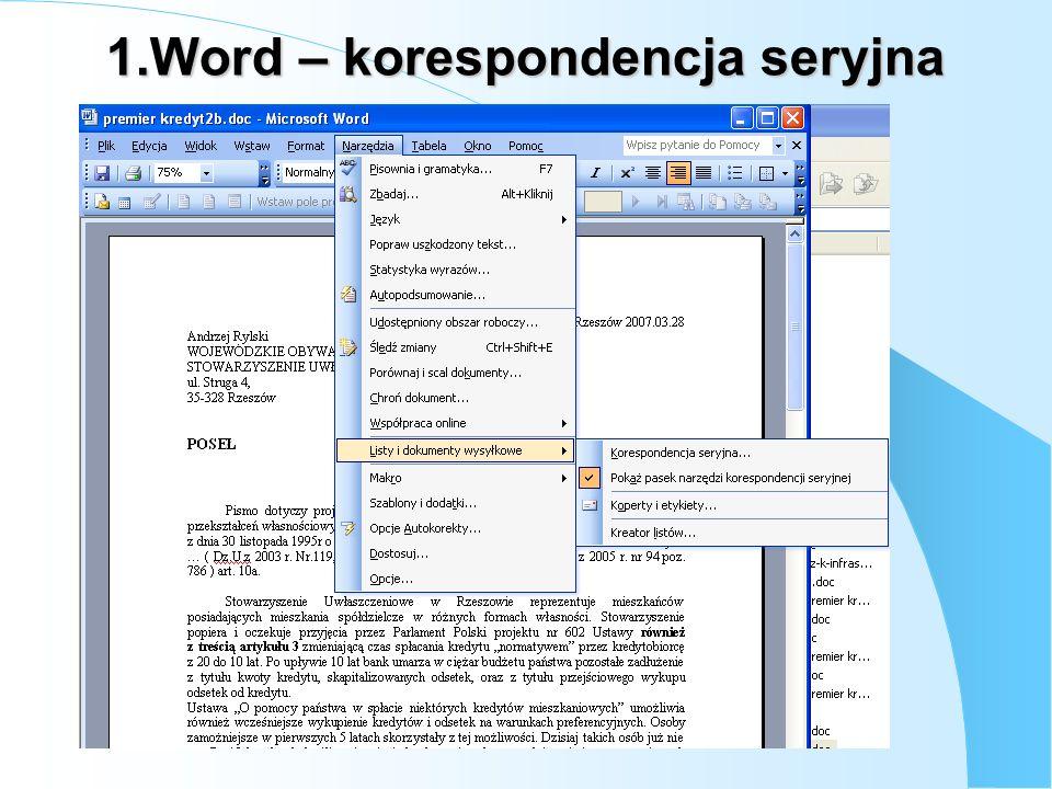 Wstaw pole korespondencjiseryjnejWstaw pole programu Wordi.t.d.