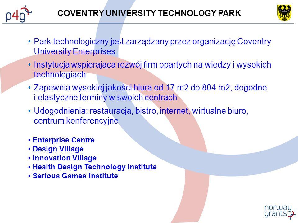 COVENTRY UNIVERSITY TECHNOLOGY PARK Park technologiczny jest zarządzany przez organizację Coventry University Enterprises Instytucja wspierająca rozwój firm opartych na wiedzy i wysokich technologiach Zapewnia wysokiej jakości biura od 17 m2 do 804 m2; dogodne i elastyczne terminy w swoich centrach Udogodnienia: restauracja, bistro, internet, wirtualne biuro, centrum konferencyjne Enterprise Centre Design Village Innovation Village Health Design Technology Institute Serious Games Institute