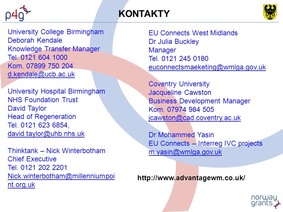 KONTAKTY University College Birmingham Deborah Kendale Knowledge Transfer Manager Tel.