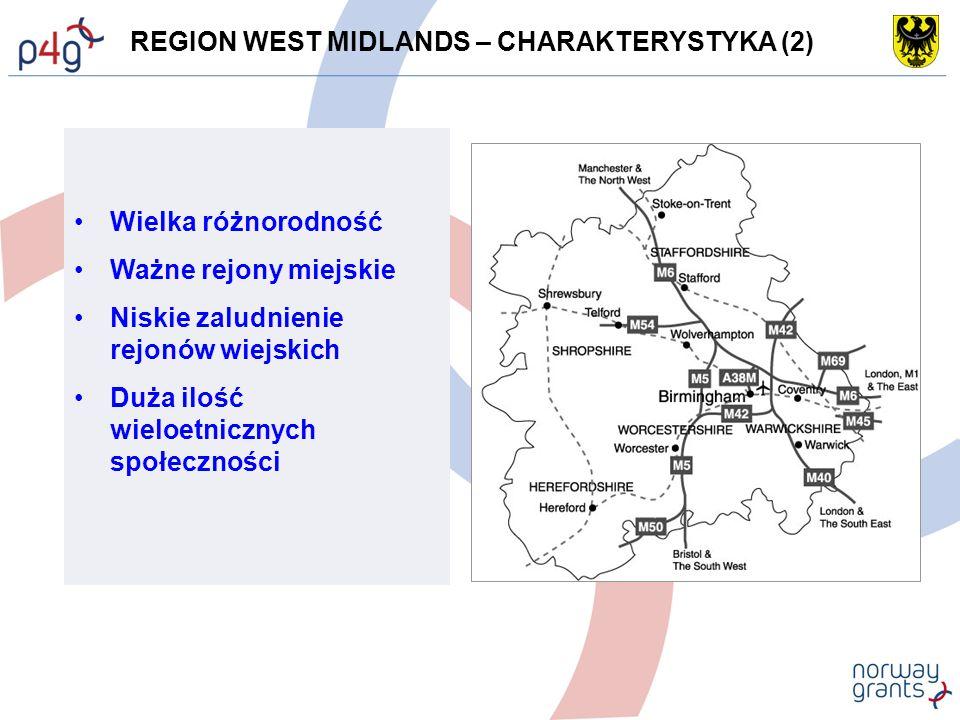 REGION WEST MIDLANDS – CHARAKTERYSTYKA (2) Wielka różnorodność Ważne rejony miejskie Niskie zaludnienie rejonów wiejskich Duża ilość wieloetnicznych społeczności
