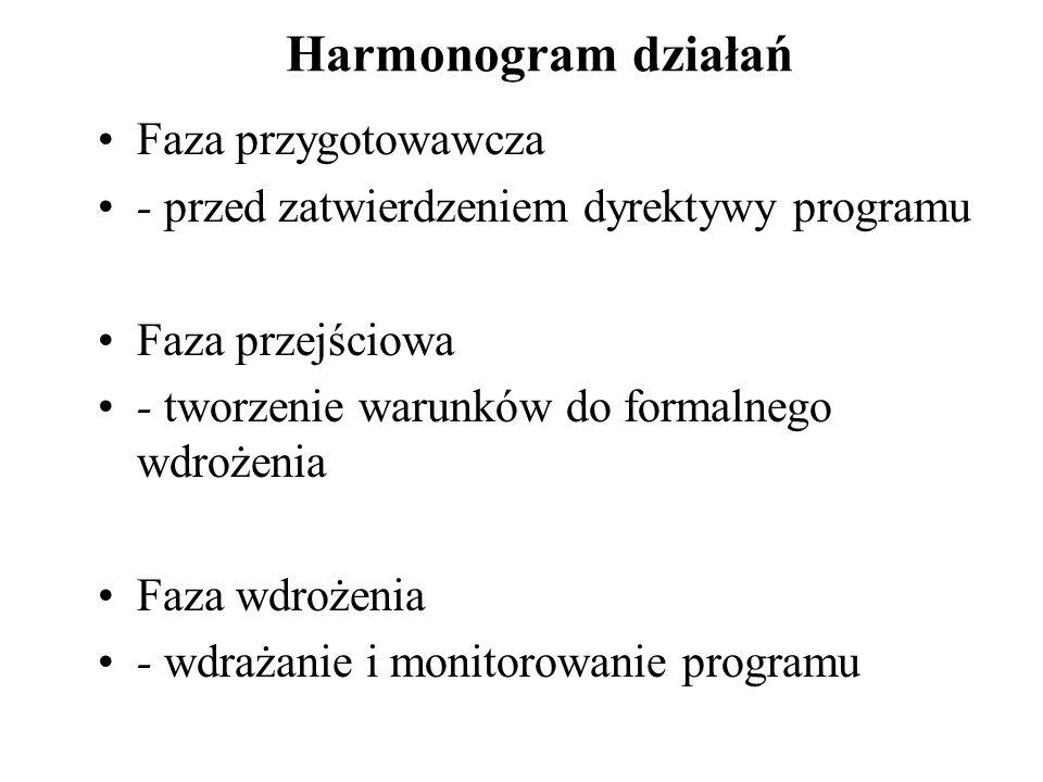 Harmonogram działań Faza przygotowawcza - przed zatwierdzeniem dyrektywy programu Faza przejściowa - tworzenie warunków do formalnego wdrożenia Faza wdrożenia - wdrażanie i monitorowanie programu