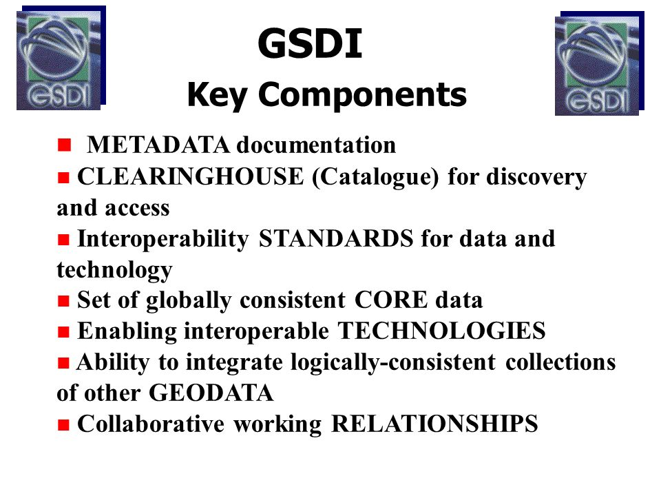 GSDI Key Components n METADATA documentation n CLEARINGHOUSE (Catalogue) for discovery and access n Interoperability STANDARDS for data and technology n Set of globally consistent CORE data n Enabling interoperable TECHNOLOGIES n Ability to integrate logically-consistent collections of other GEODATA n Collaborative working RELATIONSHIPS