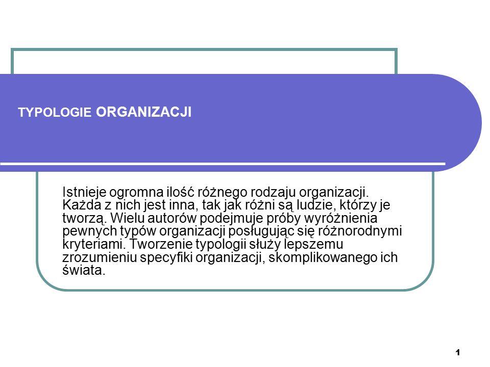 1 TYPOLOGIE ORGANIZACJI Istnieje ogromna ilość różnego rodzaju organizacji. Każda z nich jest inna, tak jak różni są ludzie, którzy je tworzą. Wielu a