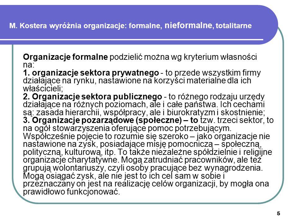 5 M. Kostera wyróżnia organizacje: formalne, nieformalne, totalitarne Organizacje formalne podzielić można wg kryterium własności na: 1. organizacje s