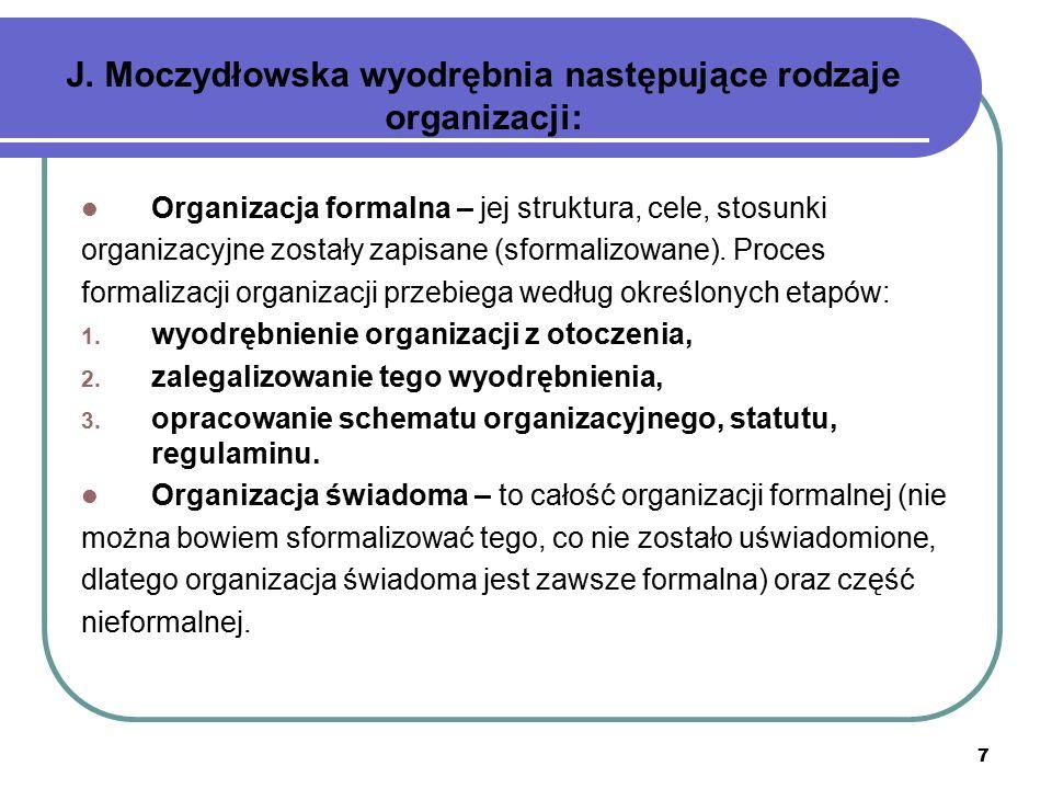 7 J. Moczydłowska wyodrębnia następujące rodzaje organizacji: Organizacja formalna – jej struktura, cele, stosunki organizacyjne zostały zapisane (sfo