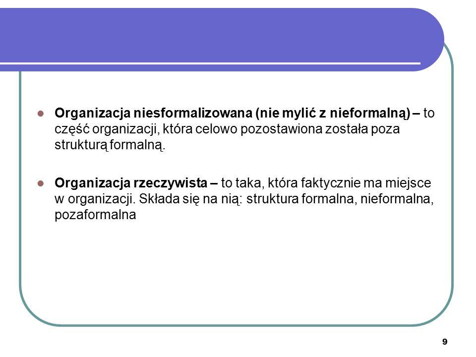 9 Organizacja niesformalizowana (nie mylić z nieformalną) – to część organizacji, która celowo pozostawiona została poza strukturą formalną. Organizac
