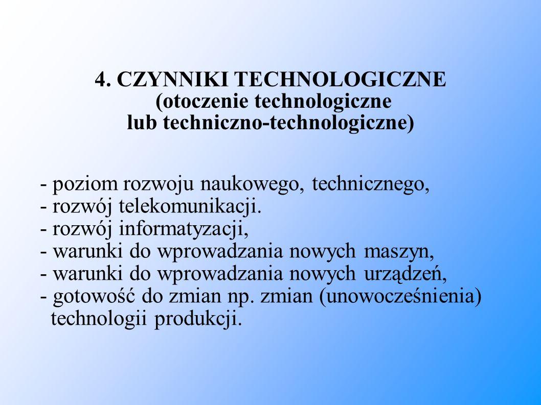 4. CZYNNIKI TECHNOLOGICZNE (otoczenie technologiczne lub techniczno-technologiczne) - poziom rozwoju naukowego, technicznego, - rozwój telekomunikacj