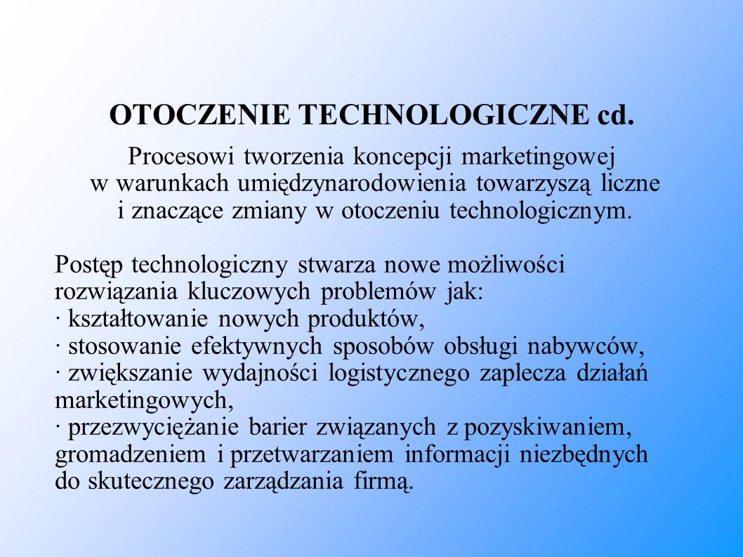 OTOCZENIE TECHNOLOGICZNE cd. Procesowi tworzenia koncepcji marketingowej w warunkach umiędzynarodowienia towarzyszą liczne i znaczące zmiany w otoczen