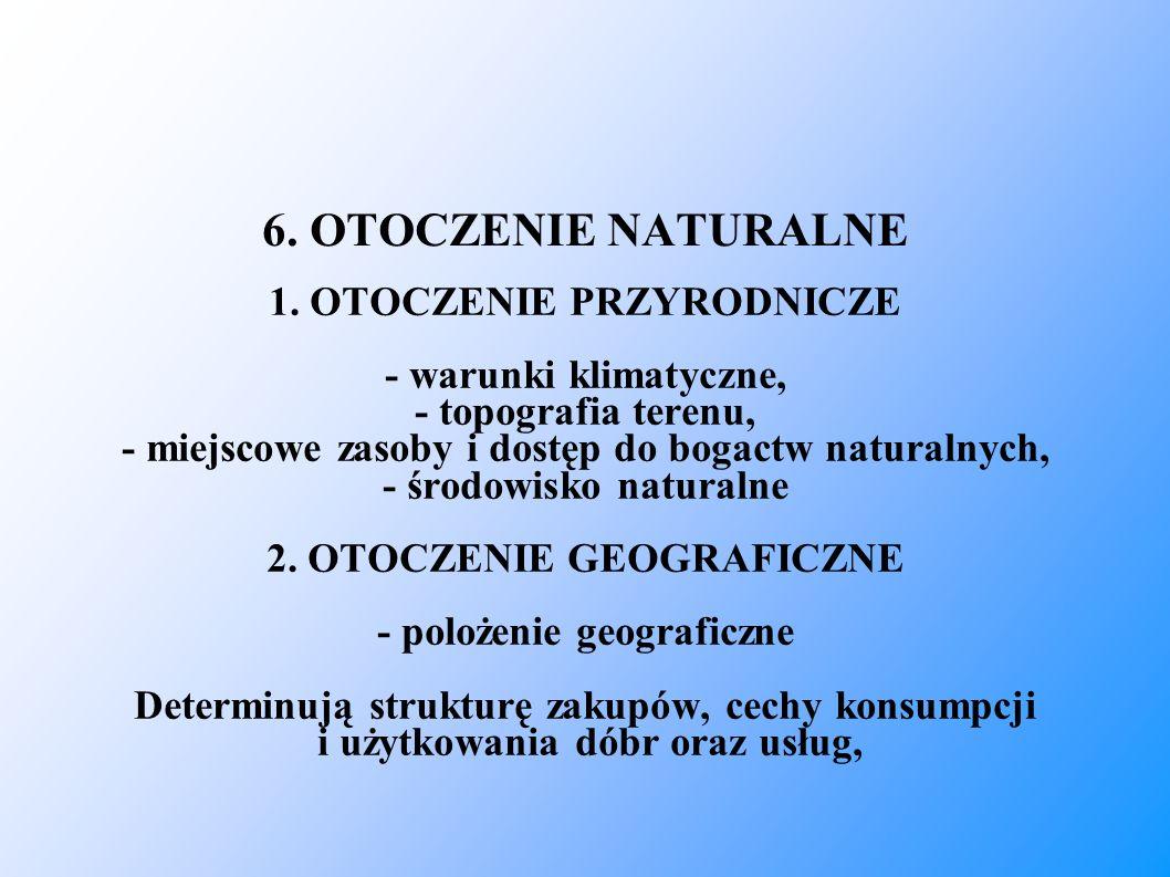 6. OTOCZENIE NATURALNE 1. OTOCZENIE PRZYRODNICZE - warunki klimatyczne, - topografia terenu, - miejscowe zasoby i dostęp do bogactw naturalnych, - śro