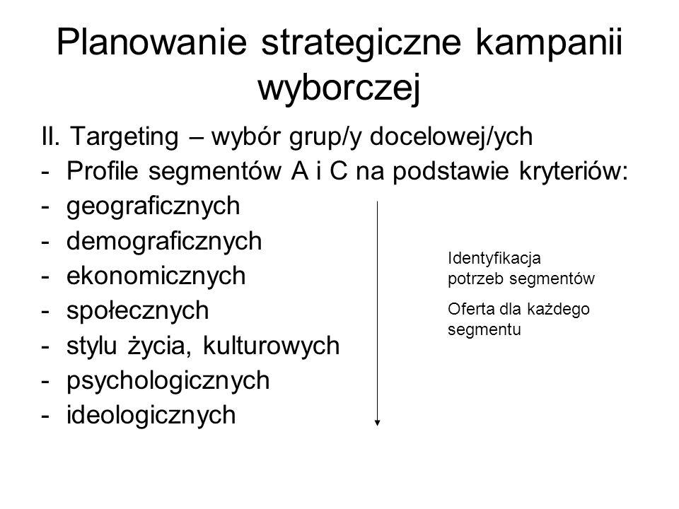Planowanie strategiczne kampanii wyborczej II. Targeting – wybór grup/y docelowej/ych -Profile segmentów A i C na podstawie kryteriów: -geograficznych