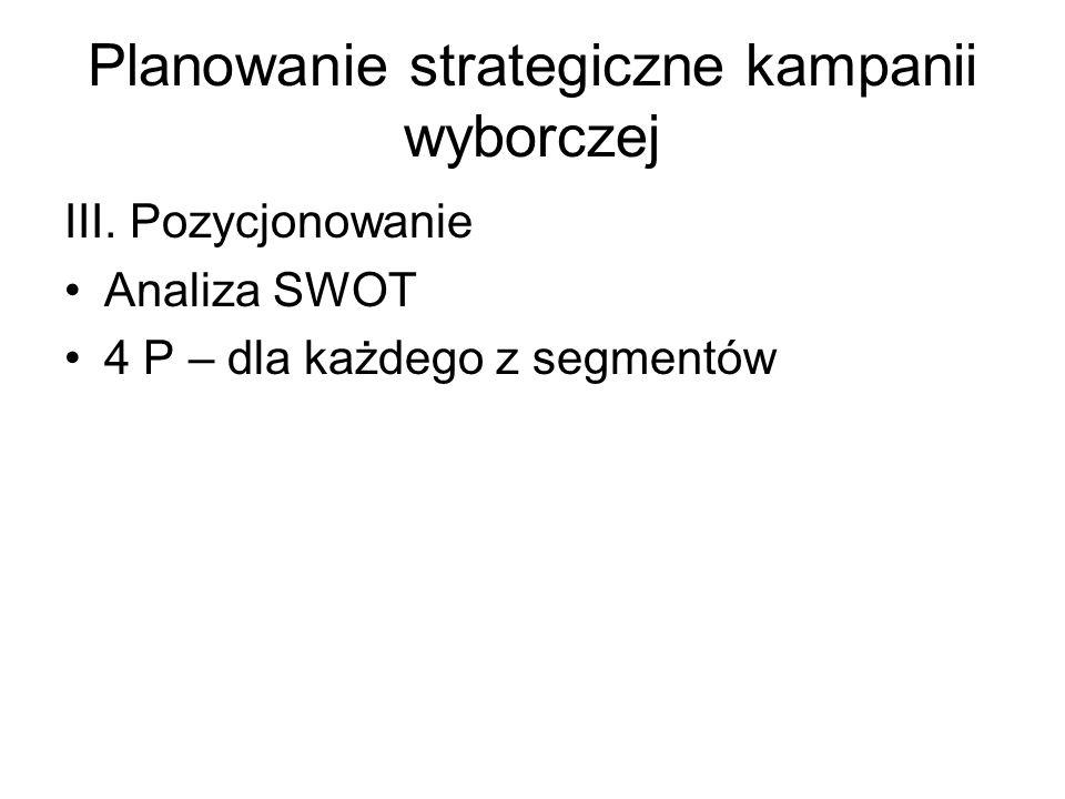 Planowanie strategiczne kampanii wyborczej III. Pozycjonowanie Analiza SWOT 4 P – dla każdego z segmentów