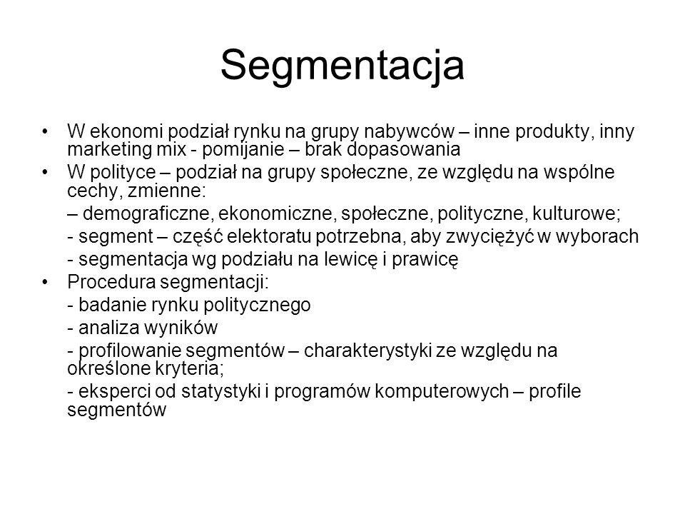 Segmentacja W ekonomi podział rynku na grupy nabywców – inne produkty, inny marketing mix - pomijanie – brak dopasowania W polityce – podział na grupy społeczne, ze względu na wspólne cechy, zmienne: – demograficzne, ekonomiczne, społeczne, polityczne, kulturowe; - segment – część elektoratu potrzebna, aby zwyciężyć w wyborach - segmentacja wg podziału na lewicę i prawicę Procedura segmentacji: - badanie rynku politycznego - analiza wyników - profilowanie segmentów – charakterystyki ze względu na określone kryteria; - eksperci od statystyki i programów komputerowych – profile segmentów