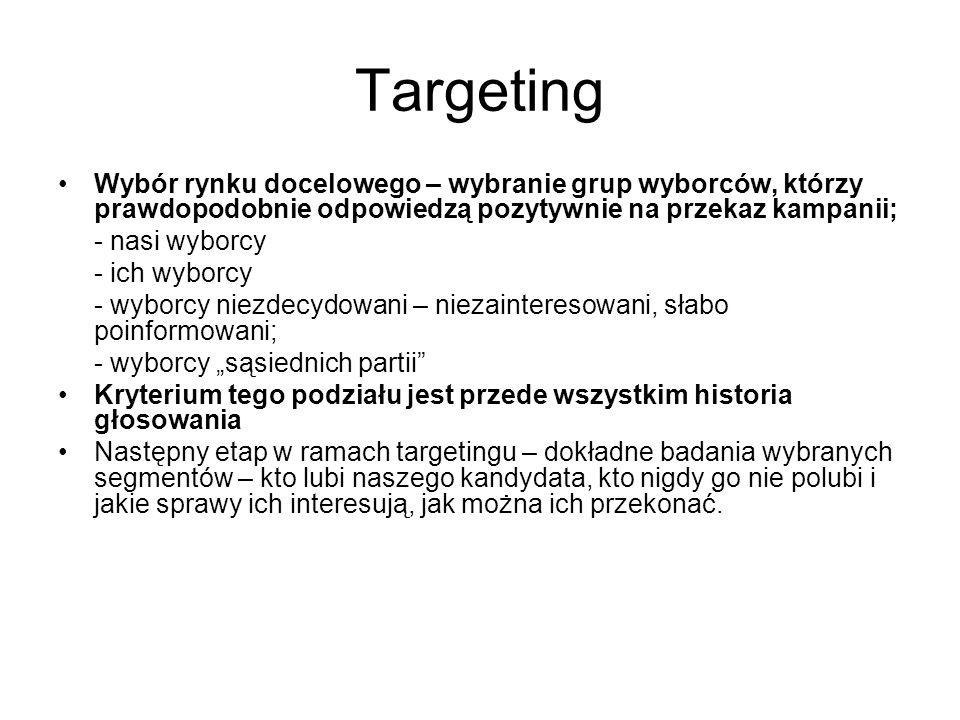 """Targeting Wybór rynku docelowego – wybranie grup wyborców, którzy prawdopodobnie odpowiedzą pozytywnie na przekaz kampanii; - nasi wyborcy - ich wyborcy - wyborcy niezdecydowani – niezainteresowani, słabo poinformowani; - wyborcy """"sąsiednich partii Kryterium tego podziału jest przede wszystkim historia głosowania Następny etap w ramach targetingu – dokładne badania wybranych segmentów – kto lubi naszego kandydata, kto nigdy go nie polubi i jakie sprawy ich interesują, jak można ich przekonać."""