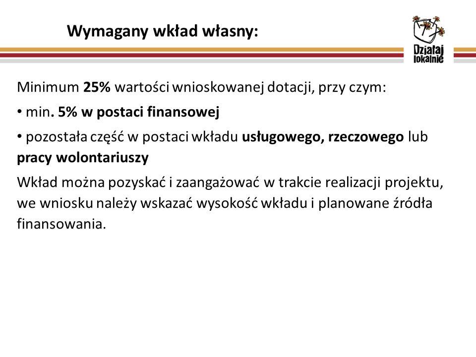 Minimum 25% wartości wnioskowanej dotacji, przy czym: min.