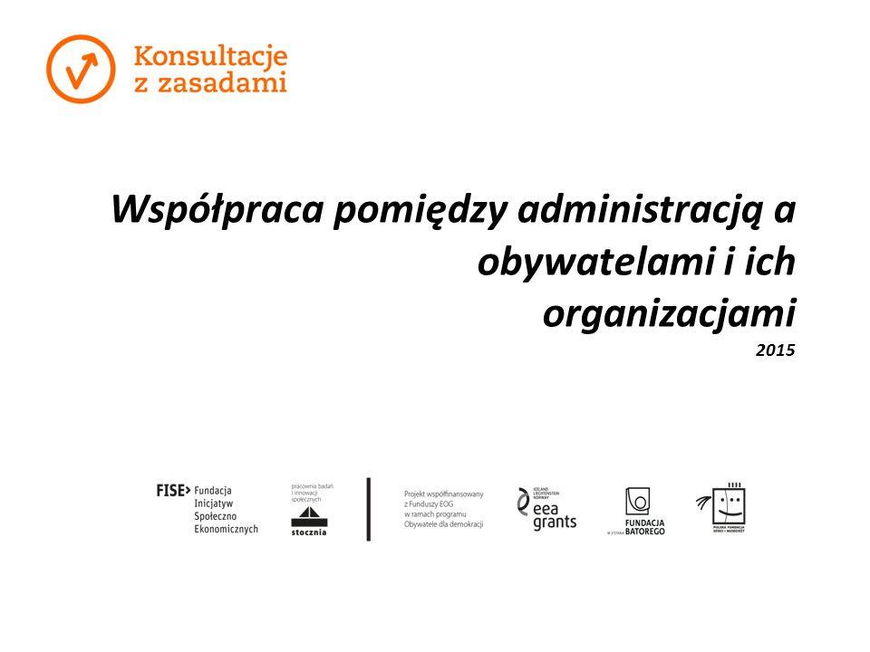 Współpraca pomiędzy administracją a obywatelami i ich organizacjami 2015