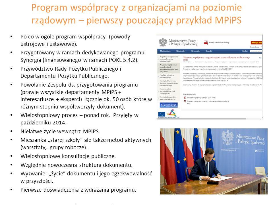Program współpracy z organizacjami na poziomie rządowym – pierwszy pouczający przykład MPiPS Po co w ogóle program współpracy (powody ustrojowe i ustawowe).