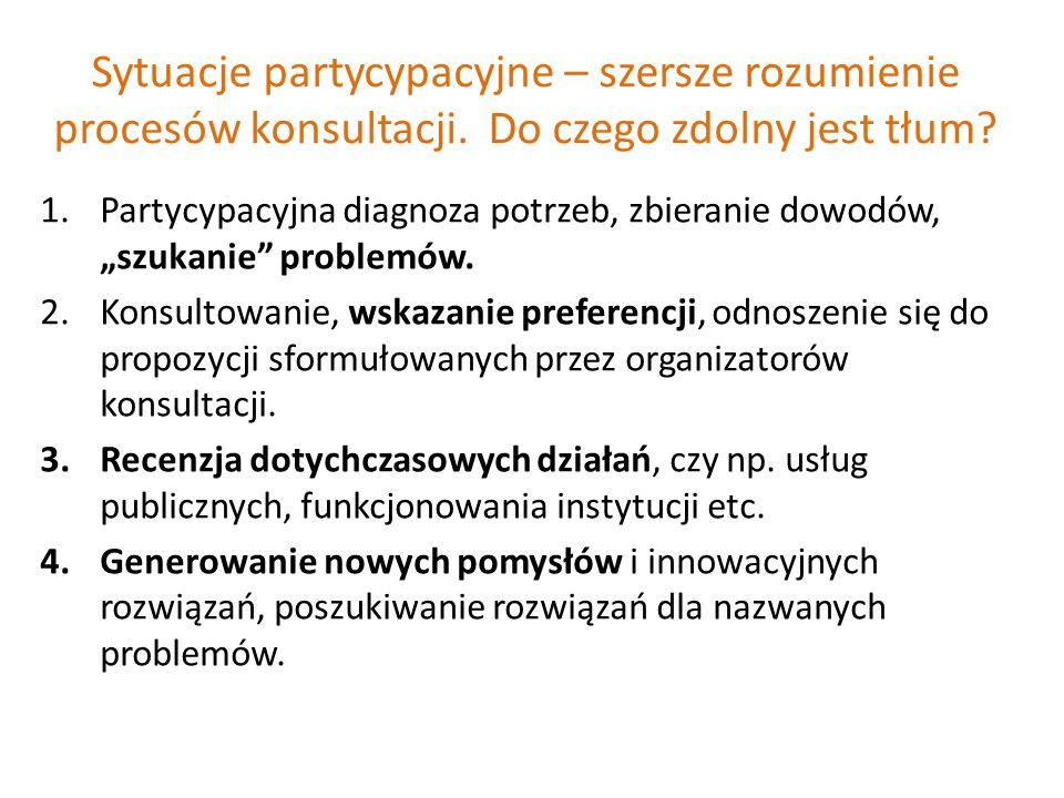 Sytuacje partycypacyjne – szersze rozumienie procesów konsultacji.