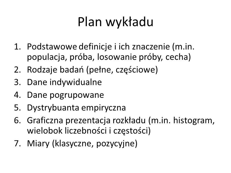 Plan wykładu 1.Podstawowe definicje i ich znaczenie (m.in.
