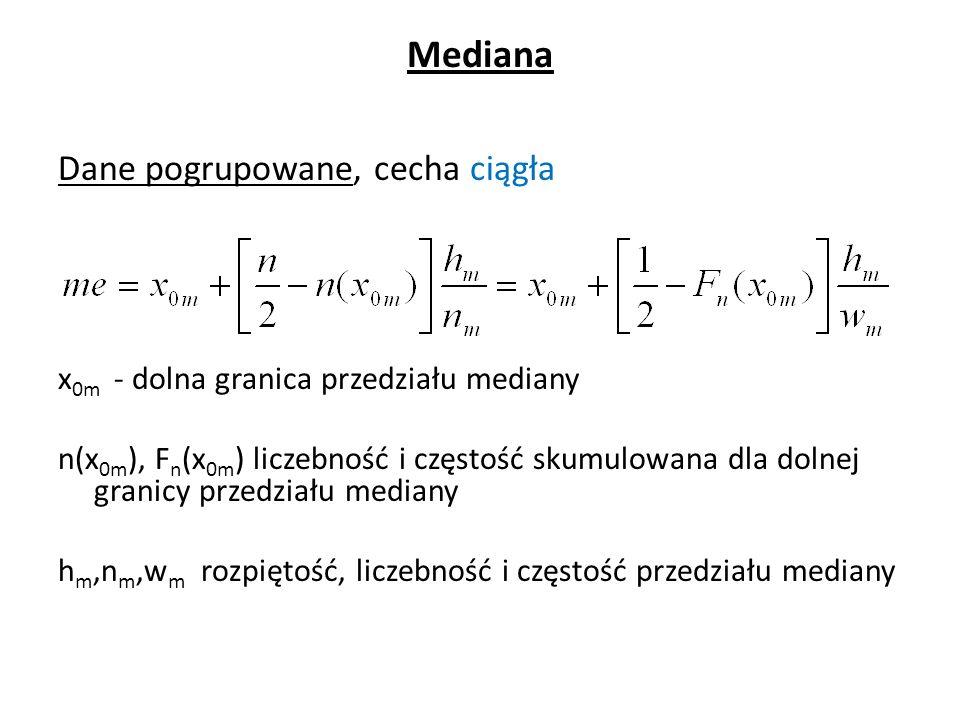 Mediana Dane pogrupowane, cecha ciągła x 0m - dolna granica przedziału mediany n(x 0m ), F n (x 0m ) liczebność i częstość skumulowana dla dolnej granicy przedziału mediany h m,n m,w m rozpiętość, liczebność i częstość przedziału mediany