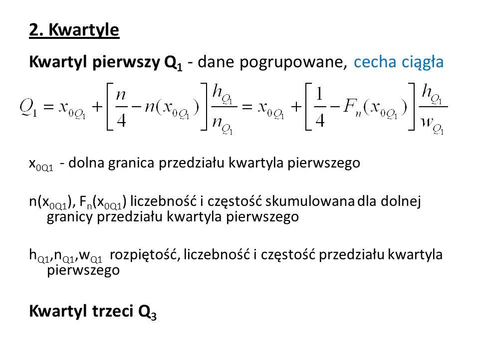 2. Kwartyle Kwartyl pierwszy Q 1 - dane pogrupowane, cecha ciągła x 0Q1 - dolna granica przedziału kwartyla pierwszego n(x 0Q1 ), F n (x 0Q1 ) liczebn