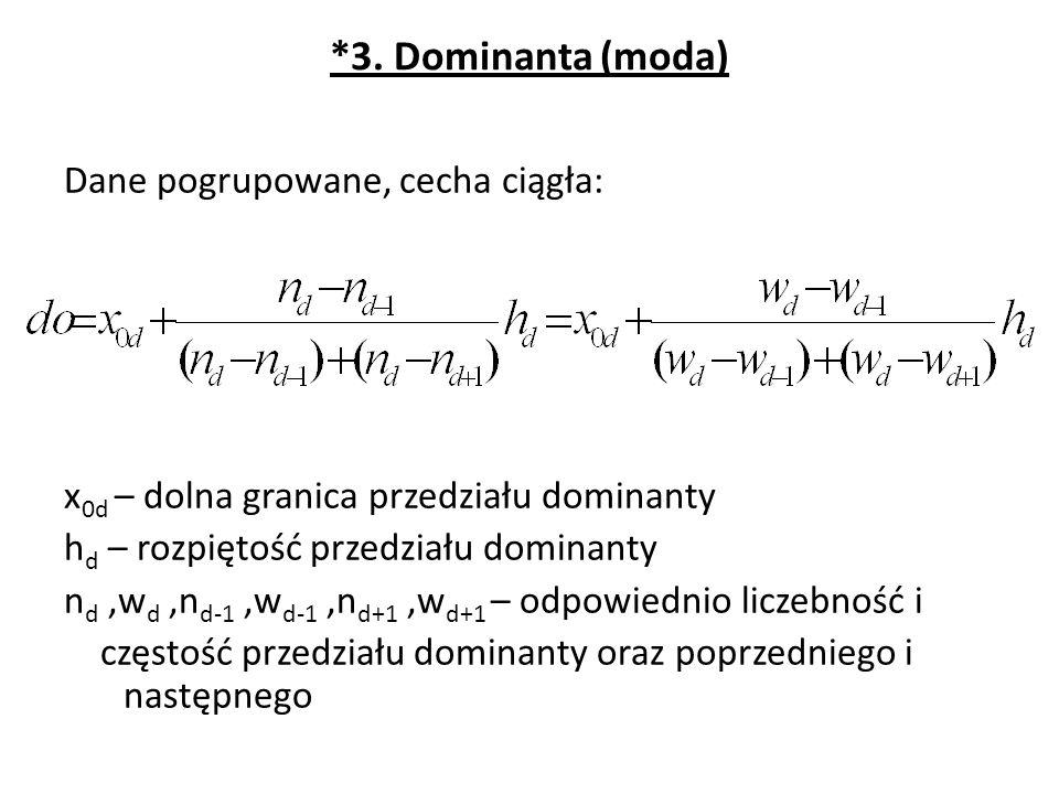 *3. Dominanta (moda) Dane pogrupowane, cecha ciągła: x 0d – dolna granica przedziału dominanty h d – rozpiętość przedziału dominanty n d,w d,n d-1,w d