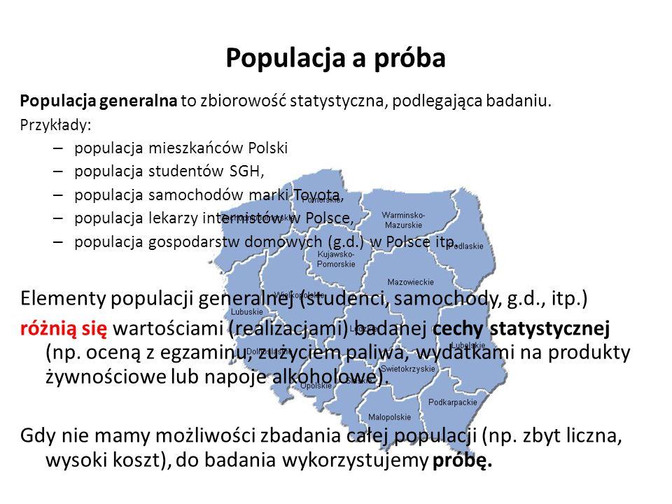 Populacja a próba Populacja generalna to zbiorowość statystyczna, podlegająca badaniu.